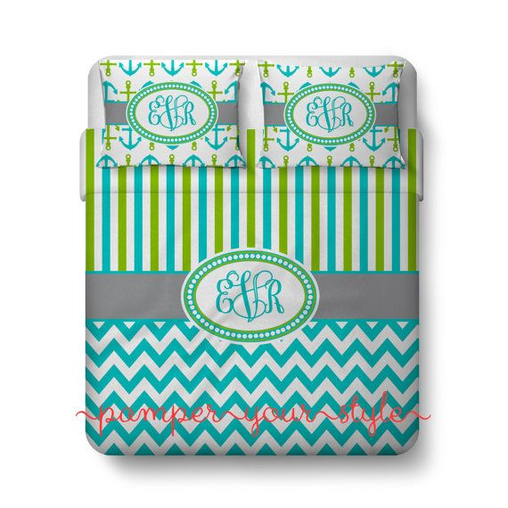 Monogrammed Striped and Chevron Nautical Anchor Bedding - Aqua and Lime Duvet Cover - Personalize with Name or Monogram - Create your Bed