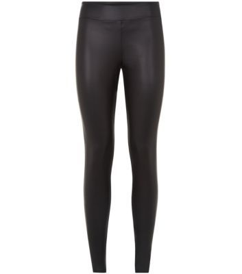 Black Leather-Look High Waisted Leggings
