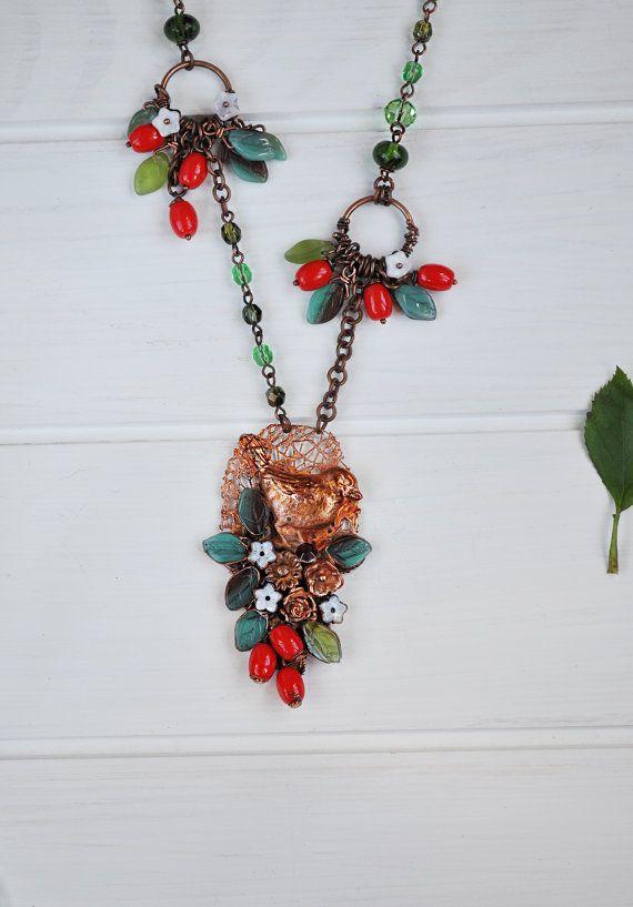 Electroformed necklace with bird OOAK pendant bird от ChechelArt