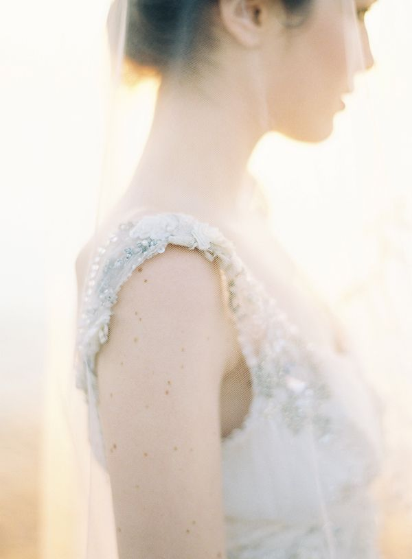 image by jose villa for the once wed magazine. this was shot at dawn on the water in charleston. claire pettibone gown and veil.