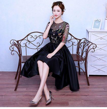 ワンピース エレガント♪  フラワー 刺繍 シースルー ドレス ワンピース(2)