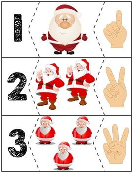 $1   Teach counting skills with these Santas! Great for teaching 1:1 counting skills and number recognition for #s 1-10. Quick prep and great for math centers! #preschool #preschoolers #preschoolactivities #kindergarten #Homeschooling #mathcenters