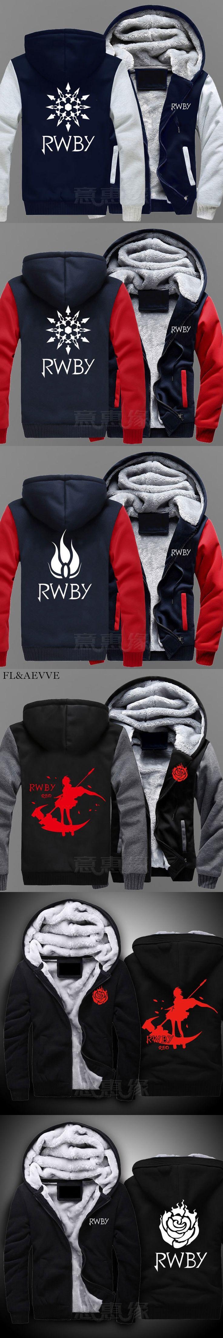 FL&AEVVE New RWBY Hoodie Ruby Rose Anime Coat Jacket Winter Men Thick Zipper Sweatshirt