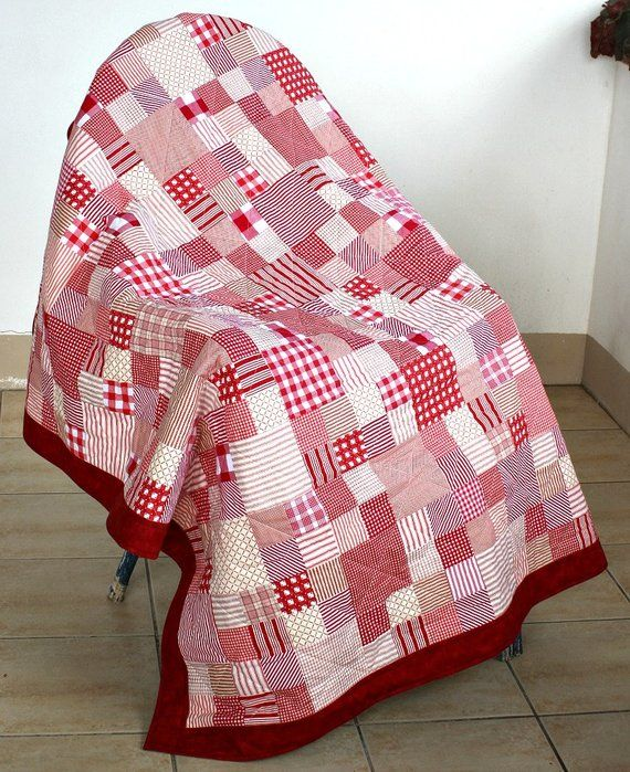 Lap Quilt, Red White Quilted Blanket, Couch Throw, Patchwork ...
