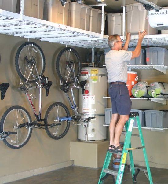 Garage storage along upper walls.