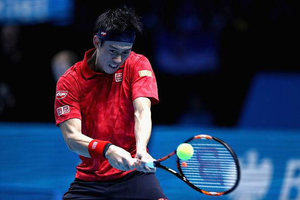 Kei Nishikori of Japan plays a backhand shot during his men's singles semi final against Novak Djokovic of Serbia on day seven of the ATP World Tour...