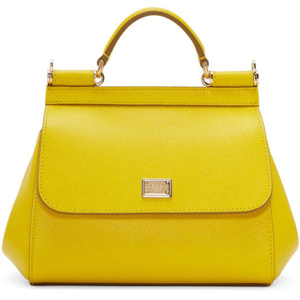 Dolce and Gabbana Yellow Mini Miss Sicily Bag ($1,035) ❤ liked on Polyvore featuring bags, handbags, shoulder bags, yellow, leopard shoulder bag, yellow purse, top handle bags, structured purse and dolce gabbana purses