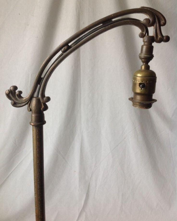 Amazing Vintage Rembrandt Bridge Floor Lamp Brass Cast Iron Art Deco Nouveau R7030  Works