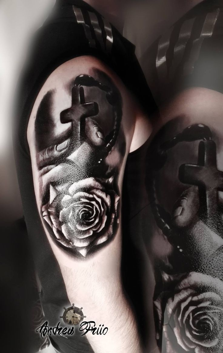 religious tattoo black and grey tattoo rose tattoo praying hands