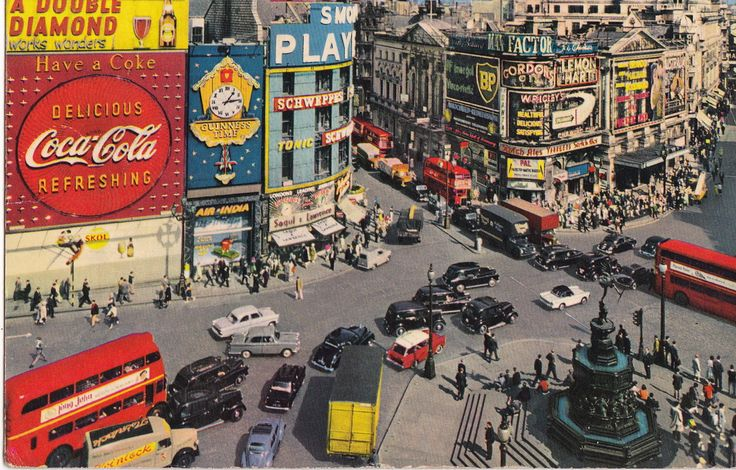 Picadilly Circus, London. 1950s. #London