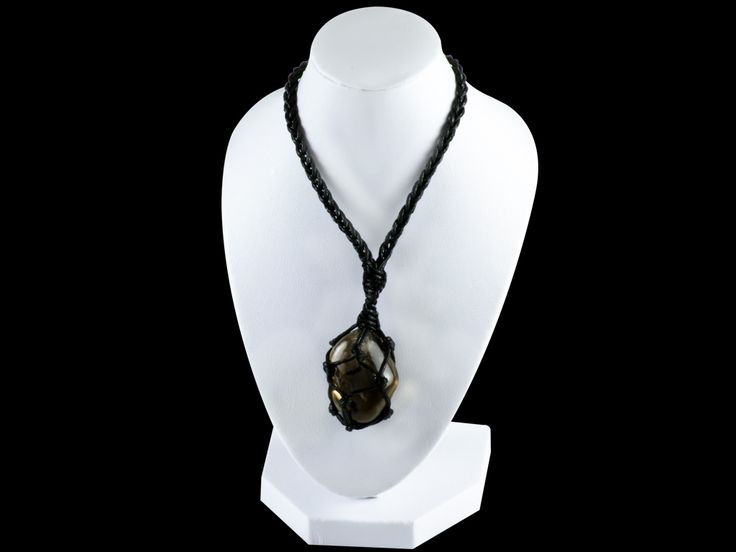 Hemp Wrapped Tumbled Smoky Quartz Gemstone Pendant