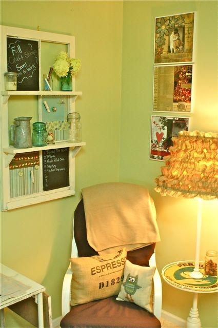 the little green bean:Old window turned memo board.