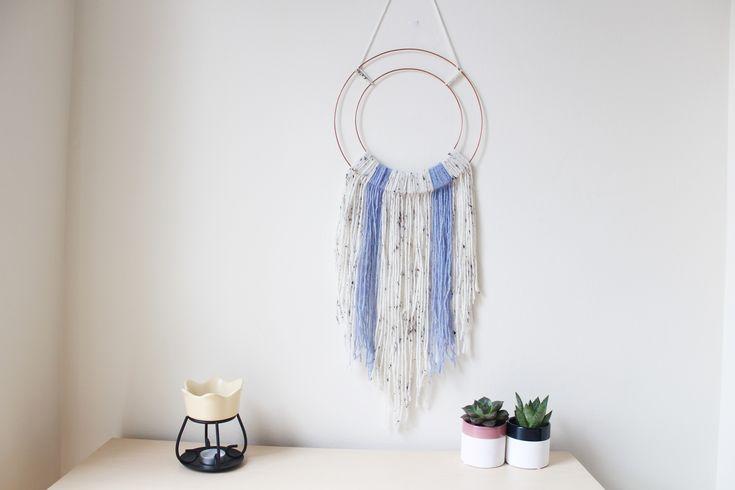 hoop wall hanging purple and cream yarn etsy listing by Ella Scribbles