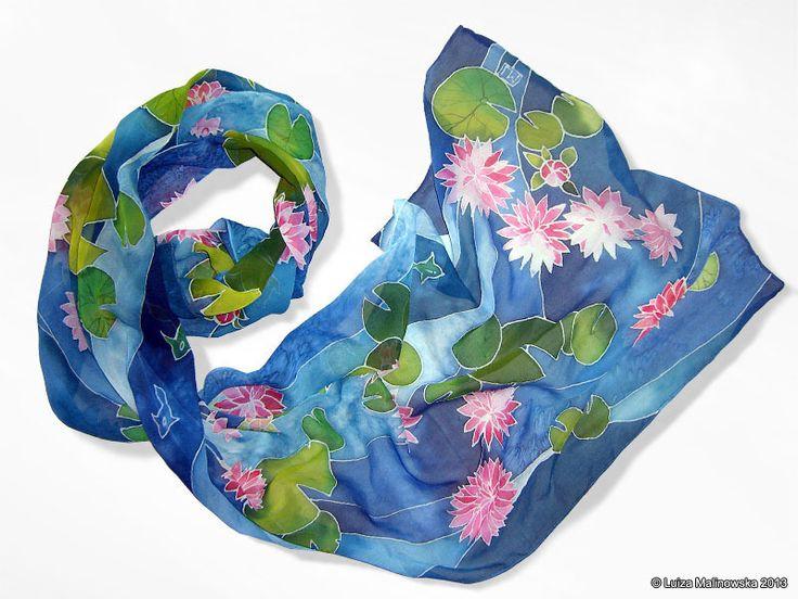 Szal jedwabny Lilie Wodne ręcznie malowany w Barwna na DaWanda.com