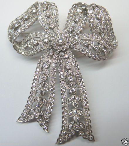 Antique Diamond Bow Brooch/Pendant 18K Fine Art Deco Vintage Estate Bridal RARE Fine Jewelry CIRCA ~ 1930's.