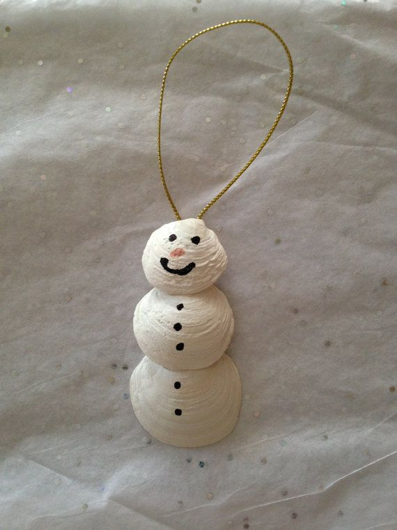 Great Gift idea for that person who is hard to buy for. Large Seashell Snowman Ornament hand picked from the Gulf Coast of Florida. $8.00