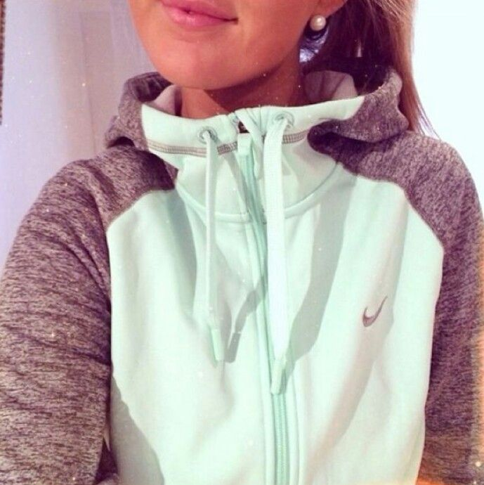 Mint and gray hoodie