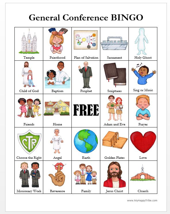 General Conference BINGO Cards. Thanks MyHappyTribe.com