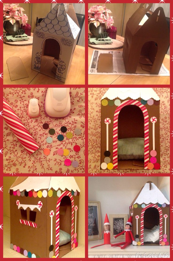 Build a bear gingerbread house for your elf on the shelf.    Materials, one build a bear box, brown paint, (small craft sized container), glue gun or glue stick, candy cane striped wrapping paper, scraps of colored scrapbook paper, a 1 in circle punch.  (For the roof you could use a gift tag shaped punch and white card stock or you can just paint it white, which is what I probably should have done, lol).