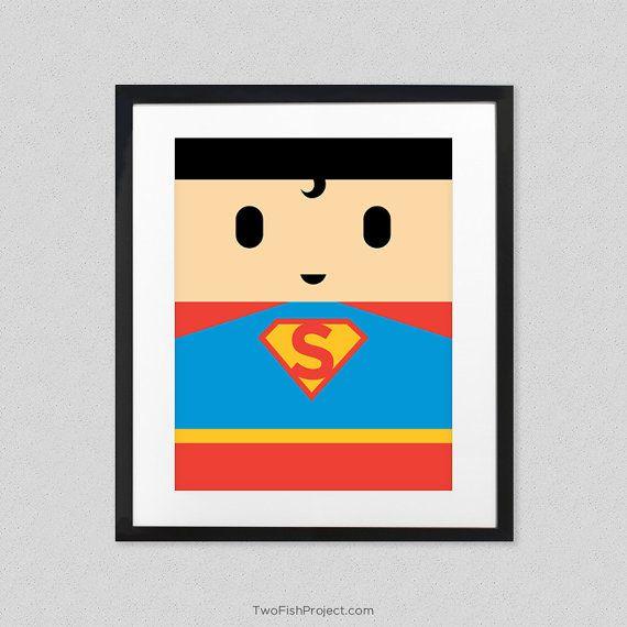 Superman Poster for Kids Room // Man of Steel Superhero Wall Art Print // Minimalist Poster