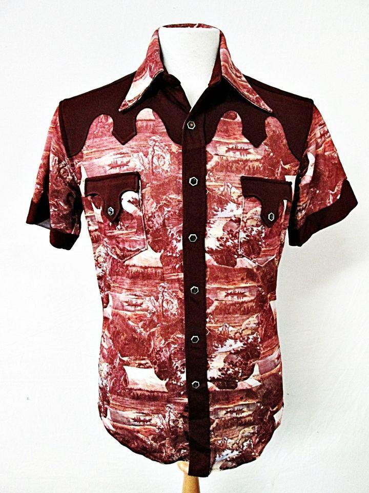 13 best denim shirts images on pinterest denim shirts vintage vintage 1970s 70s western disco cowboy yoke shirt small s sciox Image collections