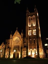 St Francis Cathedral Adelaide city at night • Adelaide's churches