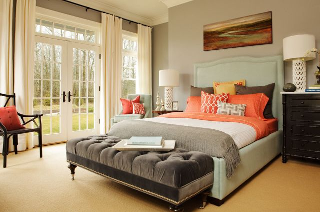 This bedroom feels very welcoming and relaxing. I love the color palette found here. All the upholstered pieces are custom made for the room.