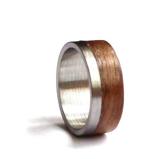 Mens-Ring Edelstahl Eheringe Holz Ehering von agatechristina