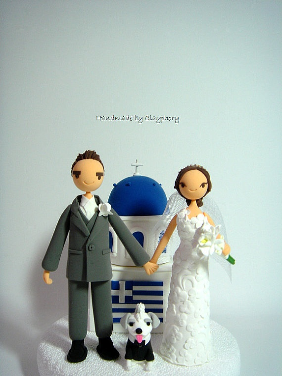 Greek Couple With Santorini Church Customized Wedding Cake Topper