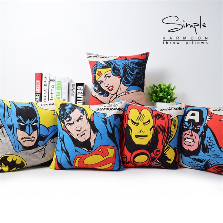 Good Quality Linen Cotton Superhero Superman American Style Decorative Cushion throw Pillow child Gifts #clothing,#shoes,#jewelry,#women,#men,#hats,#watches,#belts,#fashion,#style