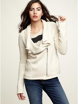 So confused by her expression, but this work appropriate moto sweater is on my list now.