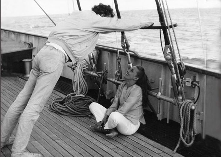 Tony Richardson and Jeanne Moreau at sea in Alexandria, Egypt during the filming of The Sailor.  Marina Cicogna
