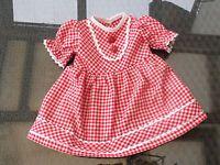 Puppenkleidung Puppenkleid Nostalgie Kleid rot kariert Schildkrötpuppe 56 cm