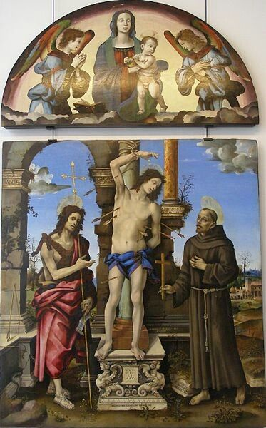 Filippino Lippi(1457–1504)Saint Sebastian between Saints John the Baptist and FrancisDescription  Pala di Francesco Lomellini  Current location  Galleria di Palazzo Bianco