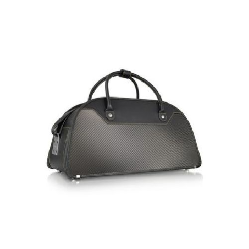 Past and future become one in the Carbon Business series. Carbon fiber panels sewn to traditional leather bags with Kevlar create a light shock-proof frame with unmatched elegance. Characterized by asymmetrical handles for an ergonomic grip this stylish weekender offers ample space for your favorite destinations with high fashion chic and serious durability. Signature dust bag included. Made in Italy.