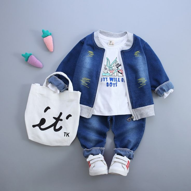 retail! 2016 new autumn baby boys and girls cowboy suit brand track suit jacket + T shirt + boy pants 3pcs/sets free shipping