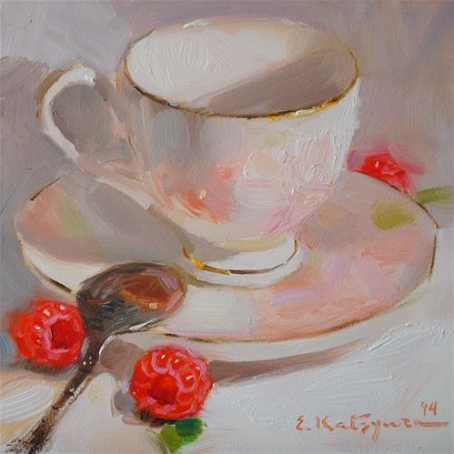 """Daily Paintworks - """"Cream Raspberries"""" by Elena Katsyura"""