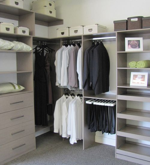 Having a closet like this would be so nice and I would be able to find my stuff so much easier. I would love to knock out a couple walls and get a large walk in wardrobe/closet like this. We have a pretty small closet right now, which would be fine if it wasn't me and my husband sharing it.