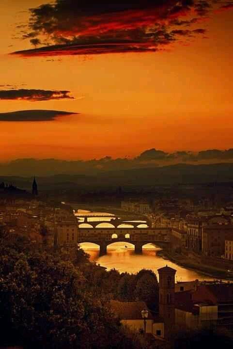 Four bridges Florence Italy