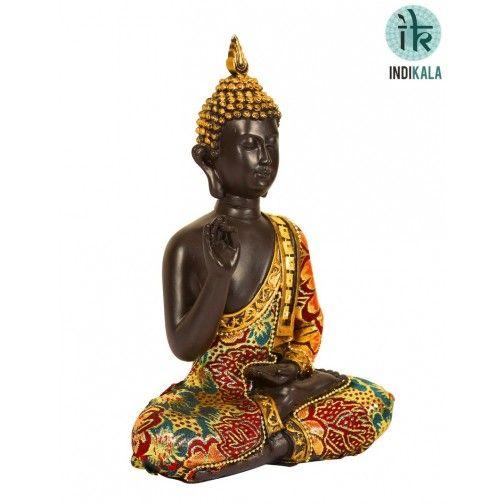 Meditating Buddha Artifact in Black Clay At www.indikala.com