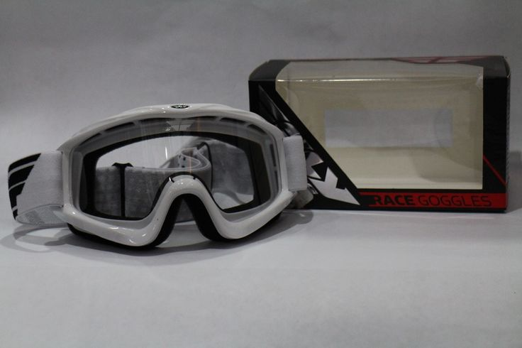 lentes mx fly fox para casco motocross cross blanco negro