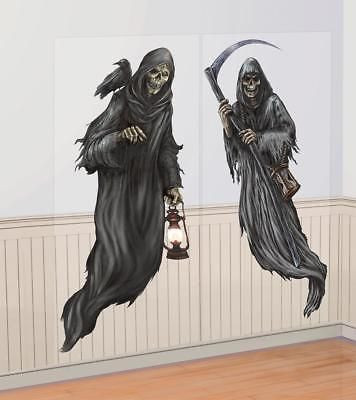 2 5ft Grim Reaper Zombie Ghosts Halloween Scene Setter Add On Party Decorations