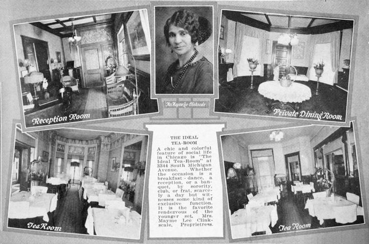 The Ideal Tea Room at 3344 South Michigan Avenue; Mrs. Mayme Lee Clinkscale, proprietress.  Taitt, John (Author) from Souvenir of Negro progress: Chicago, 1779-1925.  Date Issued: 1925;Place Term: Chicago Publisher: De Saible Assoc.