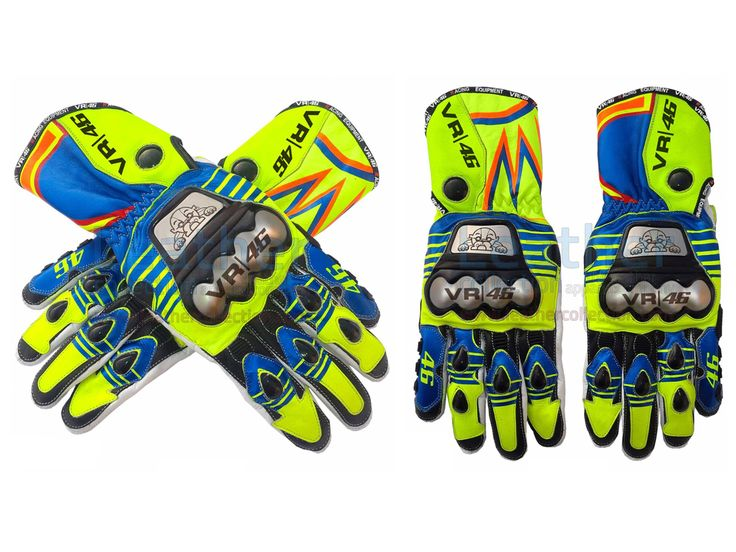 via Valentino Rossi MotoGP 2015 Race Gloves A high profile and perfect matching pair of motorcycle race gloves can be matched withValentino RossiYamaha MotoGP 2015 suit.