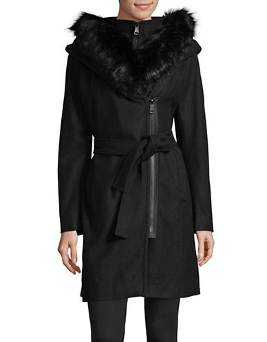 CALVIN KLEINFaux Fur Trim Wool-Blend Coat