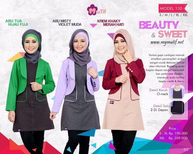 Baju atasan Muslim Tunik Mutif model 129terbaru edisi Ramadhan - Mei 2016 ini mampu membuat anda tampil anggun dan imut dengan kombinasi warna-warna terbaru...