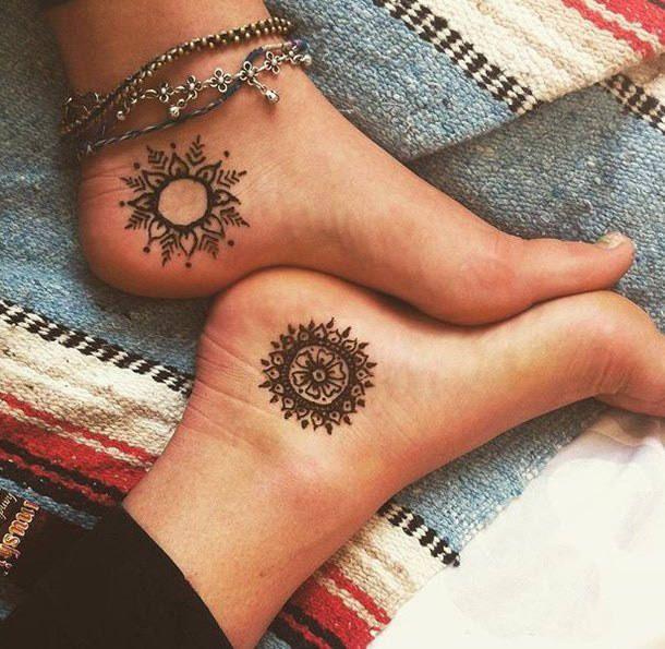 Henna Stars Suns Moons Tattoo