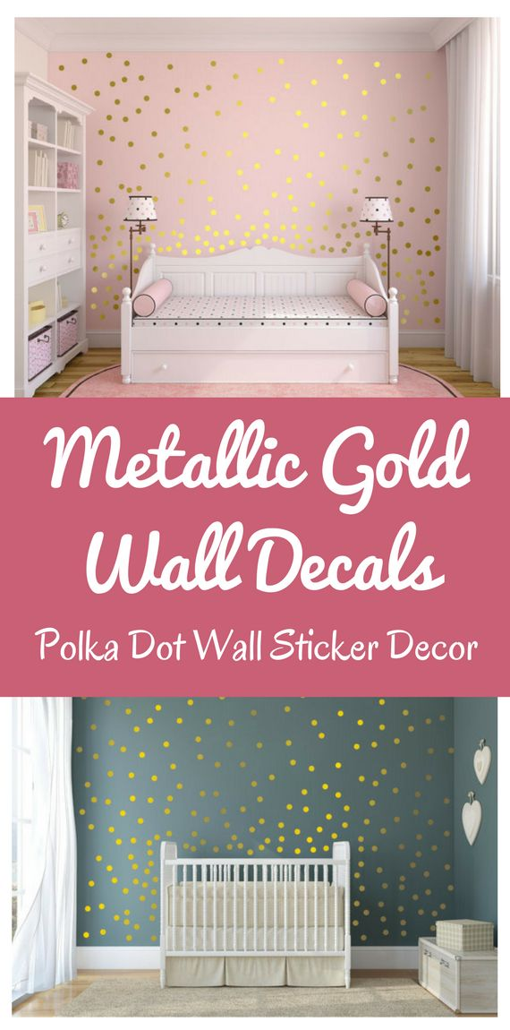 Spice up any bedroom with this Metallic Gold Wall Decals Polka Dot Wall Sticker Decor! Decals are removable without damaging your walls and when ready to remove, just peel it off. I love how easy to use this is. Simply peel it off the backing and stick onto your desired surface such as wall, mirrors, frames, glass, wood, etc. They are available 50 colors! Wow. #homedecor #decals #affiliate