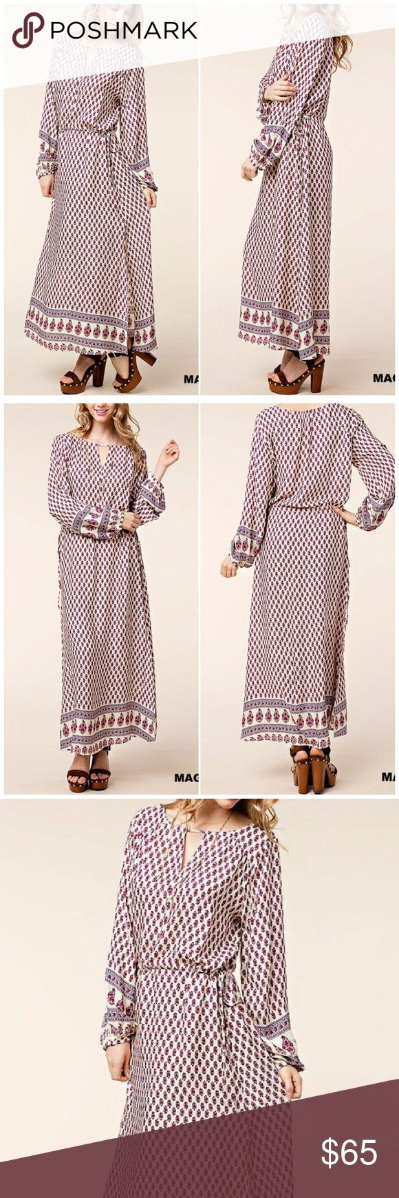 Moroccan Inspired Print Boho Maxi Dress Magenta Moroccan Print Boho Boutique Maxi Dress. Long sleeves; 2 side slits. Rayon  Fits true to size  Brand new with boutique tags B Chic Boutique Dresses Maxi