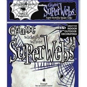 Toile d'araignée blanche et 4 araignées Halloween 60 g, déco Halloween, Halloween.